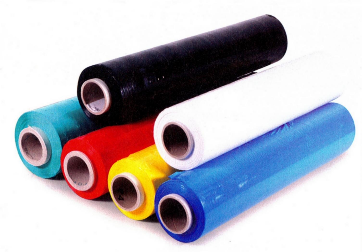 Film plastique étirable de couleur bleu rouge jaune vert blanc noir