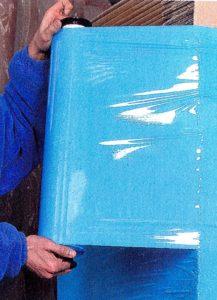 film étirable manuel bleu opaque utilisé avec embouts