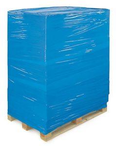 palette filmée avec du bleu opaque