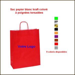 sac papier kraft coloré poignées torsadées