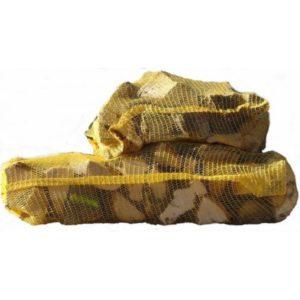 sac filet bûches de bois