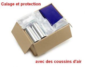 Carton avec coussins d'air pour le calage et la protection