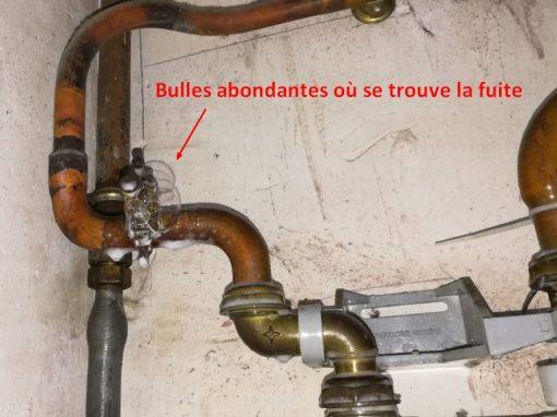 Fuite de gaz bulles abondantes