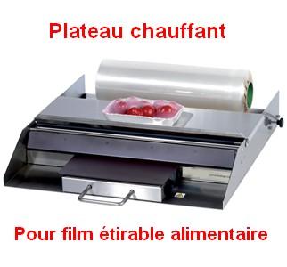 Plateau chauffant pour film étirable alimentaire pour les métiers de bouche